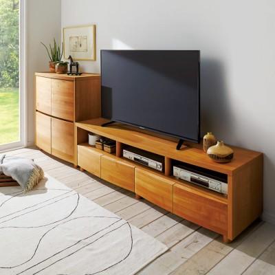 アルダー天然木アールデザインテレビ台・幅164cm ライトブラウン