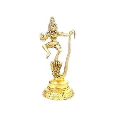 PARIJAT HANDICRAFT Brass Dancing Krishna On Kaliya Nag Statue Hindu God Rel