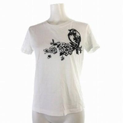 【中古】レッド ヴァレンティノ RED VALENTINO Tシャツ 半袖 鳥 花 刺繍 丸首 コットン 白 XS トップス レディース