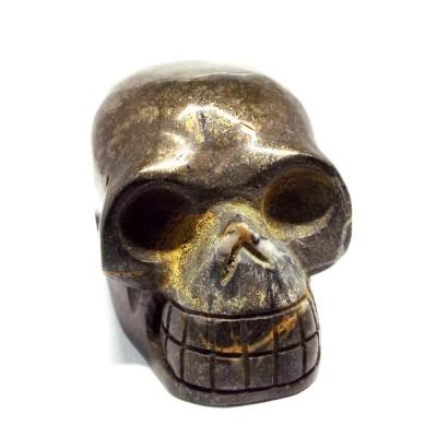 天然石 パイライト 黄鉄鉱 ドクロ スカル 髑髏 骸骨 置物  インテリア パワーストーン 天然石