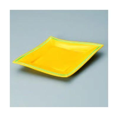 黄釉グリーン菱型10.0皿 267-02-474