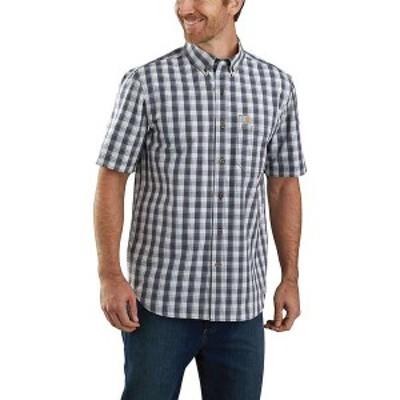 カーハート メンズ シャツ トップス Carhartt Men's Relaxed-Fit Lightweight SS Button-Front Plaid Shirt Navy