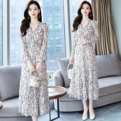マキシワンピース レディース きれいめ ロング丈ワンピース 花柄 シフォン 白 長袖 vネック 韓国風 結婚式 きれいめ 40代 30代