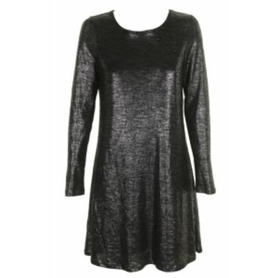 Shift  ファッション ドレス Bar III Dark Black long sleeve metallic trimmed shift dress m