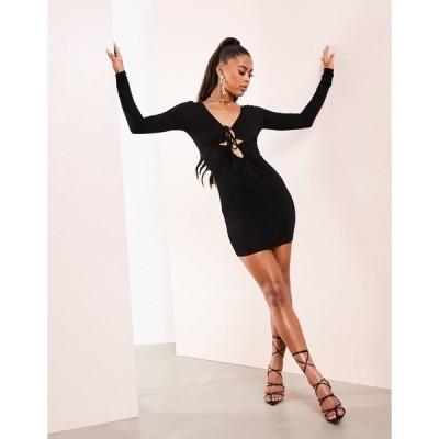 エイソス レディース ワンピース トップス ASOS LUXE long sleeve lace up cut out body-conscious mini dress in black Black