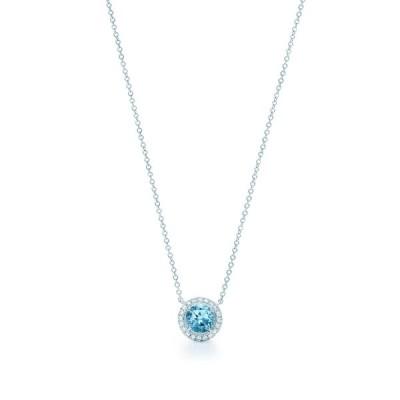 ティファニー TIFFANY ネックレス シルバー プラチナ アクアマリン ダイヤモンド ラウンド