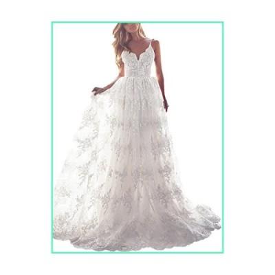 Dressesonline Spaghetti Straps A-Line Bohemian Wedding Dresses Lace Backless Beach Wedding Gowns US6 Ivory並行輸入品