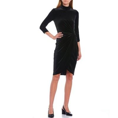 アレックスマリー レディース ワンピース トップス Addison Velvet Mock Neck 3/4 Sleeve Twist Detail Dress