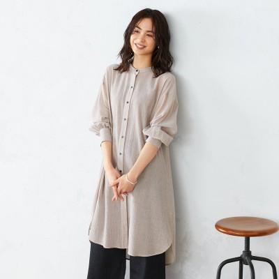 コムサイズム COMME CA ISM バックツイストバンドカラーシャツ (ベージュ)