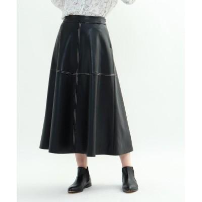 INDIVI V.A.I.(インディヴィ バイ) エコレザーAラインスカート
