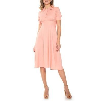 アレクシアアドマー レディース ワンピース トップス Printed Spread Collar Midi Dress PINK