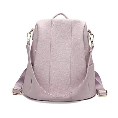 Women Backpack Purse Anti-Theft PU Leather Rucksack Ladies Shoulder Bag Girls Daypack Casual Travel Bag Lightweight (Pink Grey) …並行輸入品