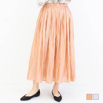 サテンギャザーロングスカート トレンド 光沢素材 ボリューム ギャザーロングスカート カラバリ アイボリー