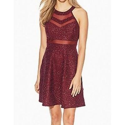 Red  ファッション ドレス Emerald Sundae NEW Red Junior Medium M Glitter Illusion Sheath Dress