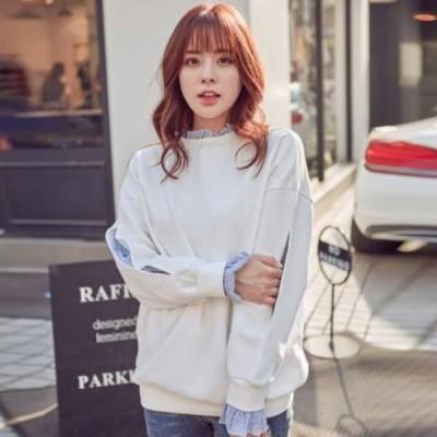 レディース トレーナー トップス レイヤード 重ね着風 オルチャン 韓国ファッション 秋冬 トレンド ゆったり 白 Mサイズ
