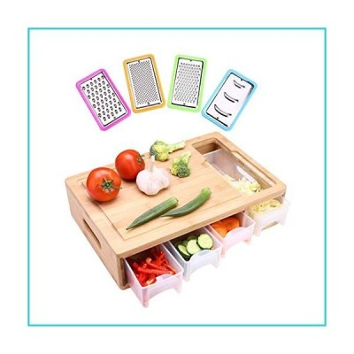 HIOHI 大型竹製まな板 トレイ/容器/スライサー/引き出し/蓋付き 食事準備用まな板 トレイ付きまな板 食事