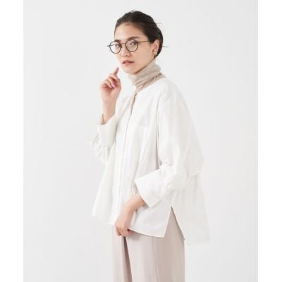 qualite/カリテ ノーカラーコクーンシャツ オフホワイト 38