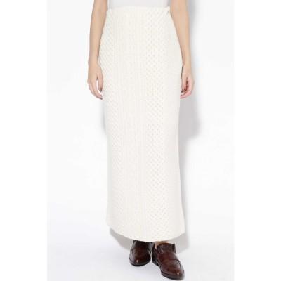 ケーブル編みニットスカート ホワイト1