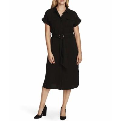 ヴィンスカムート ワンピース トップス レディース Short Sleeve Rumple Twill Two-Pocket Belted Dress Rich Black