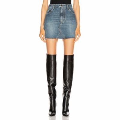 イヴ サンローラン Saint Laurent レディース ミニスカート デニム スカート classic triangle denim mini skirt Dusk Blue