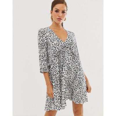 エイソス レディース ワンピース トップス ASOS DESIGN pleated smock mini dress in mono leopard print