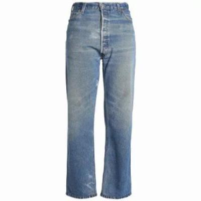 リーバイス ジーンズ・デニム Distressed high-rise straight-leg jeans Mid denim