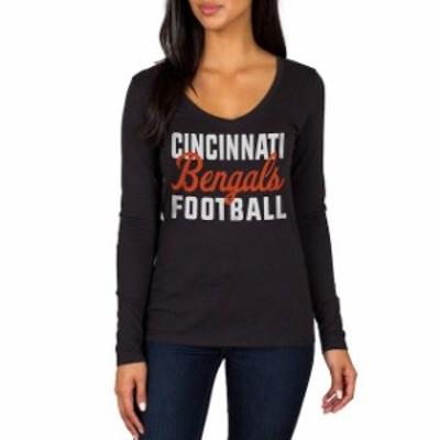 JFNB ジェイエフエヌビー スポーツ用品  Cincinnati Bengals Womens Black Blitz 2 Hit Long Sleeve V-Neck T-Shirt