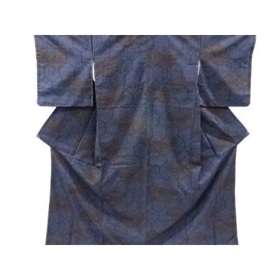 リサイクル 未使用品 雲取りに亀甲・古典柄織り出し手織り真綿紬着物