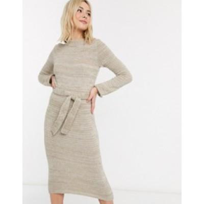 エイソス レディース ワンピース トップス ASOS DESIGN knitted midi dress with belt Oatmeal