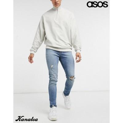 asos エイソス スキニージーンズ デニムパンツ メンズ ダメージ クラッシュ ストレッチ ブルー 大きいサイズあり