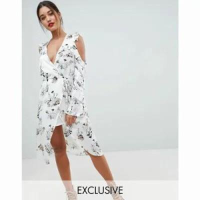 ミスガイデッド ワンピース Floral Cold Shoulder Midi Dress Floral
