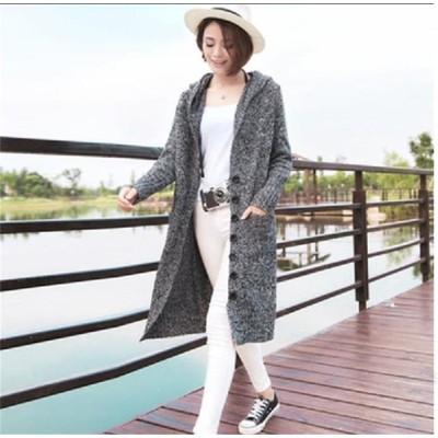 [55555SHOP]\◆超特価◆レディース服🔥/20代 30代 40代 50代 ファッション カジュアル ロング ニットカーディガン 秋冬可用 ゆったりとした 快適 暖かい フードつき ニット ジ