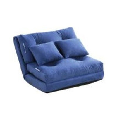 3WAY ソファーベッド 〔シングル 幅90cm ブルー〕 日本製 パイプフレーム ウレタン クッション2個付き 完成品 〔リビング〕〔代引不可〕