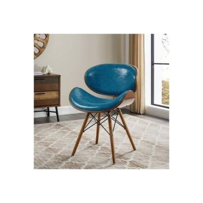 こだわり インテリア インポート アンティーク 椅子 Mid-Century Mod Teal Blue Accent Chair Faux Leather Curved Foam Seat Eiffel Base