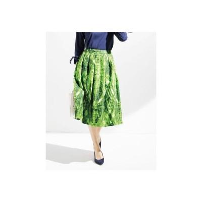 ドゥクラッセ DoCLASSE ジャカード織・リーフ柄スカート (グリーン)