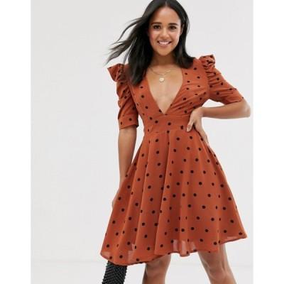 グラマラス レディース ワンピース トップス Glamorous mini dress with structured ruffle sleeves