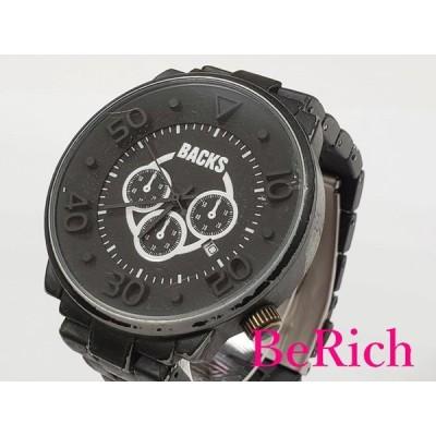 バックス BACKS メンズ 腕時計 黒 ブラック 文字盤 SS ブレス アナログ デイト クォーツ QZ ウォッチ 【中古】 ht2572