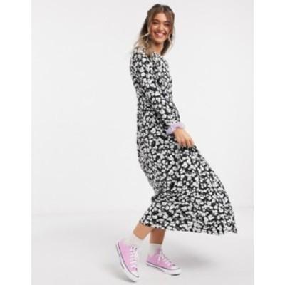 エイソス レディース ワンピース トップス ASOS DESIGN maxi smock dress in black and white floral print Black floral