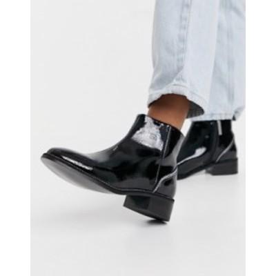 リバーアイランド レディース ブーツ・レインブーツ シューズ River Island rhinestone heeled patent flat boots in black Black