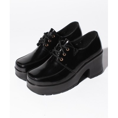 (Shoes in Closet/シュークロ)◆超軽量厚底ソール!!◆ マニッシュレースアップシューズ 《ヒール約6.0cm》1973/レディース ブラックエナメル