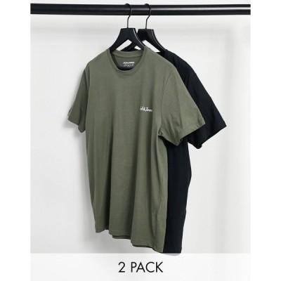 ジャックアンドジョーンズ 半袖Tシャツ メンズ Jack & Jones Originals 2 pack logo t-shirt in black & khaki エイソス ASOS ブラック 黒