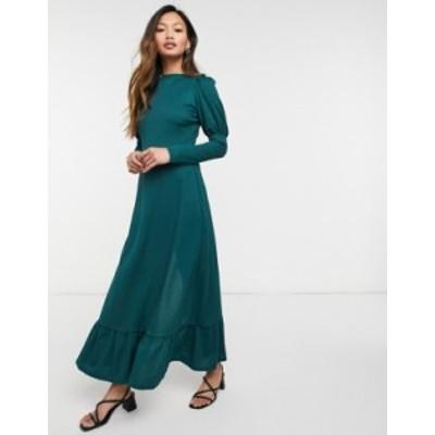 リバーアイランド レディース ワンピース トップス River Island puff sleeve satin midi dress in dark green Dark green