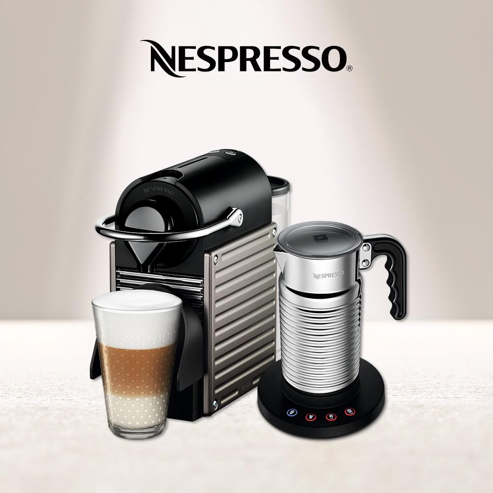【Nespresso】膠囊咖啡機 Pixie鈦金屬 全自動奶泡機組合 (贈咖啡組+咖啡金)