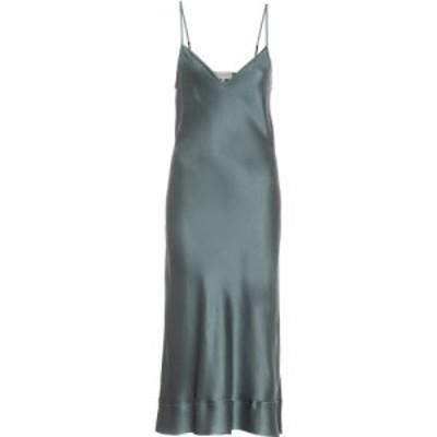リーマシューズ Lee Mathews レディース ワンピース スリップドレス ワンピース・ドレス Stella silk-satin slip dress Viridian Green