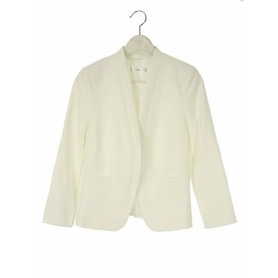 【中古】マンゴ MNG テーラードジャケット ブレザー 無地 XS 白 ホワイト アウター レディース 【ベクトル 古着】