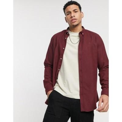 リバーアイランド メンズ シャツ トップス River Island regular fit flannel shirt in burgundy