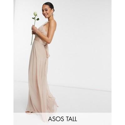エイソス ASOS Tall レディース パーティードレス マキシ丈 Asos Design Tall Bridesmaid Ruched Pinny Maxi Dress With Tie Waist Detail In Blush