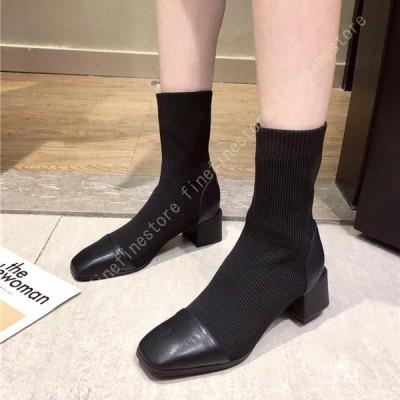 ショートブーツ レディース スクエアトゥ ソックスブーツ 無地 黒 大きいサイズ シンプル 太めヒール 切り替え 秋冬用 通気 女らしい ブーツ おしゃれ 美脚