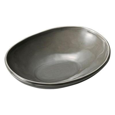 和食器 カ574-107 カフェズ グレーいっぷく楕円鉢S