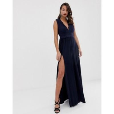 エイソス レディース ワンピース トップス ASOS DESIGN Premium Lace Insert Pleated Maxi Dress Navy